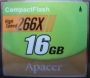 Apacer Compact Flash 16Gb 266x RP
